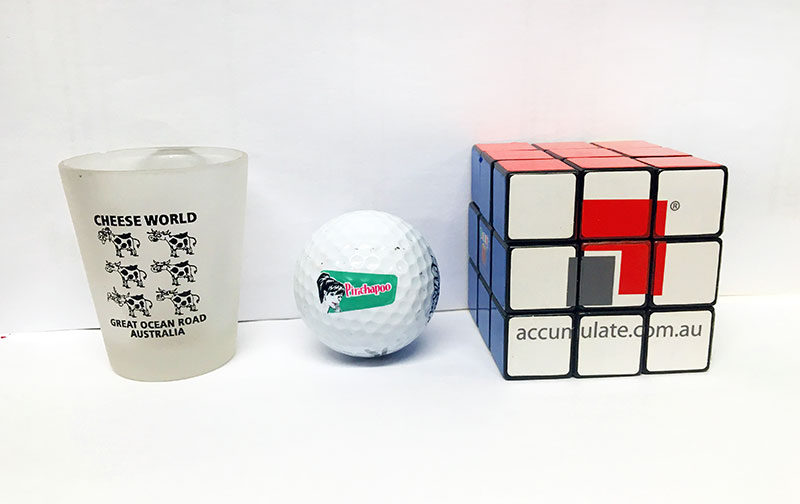 Golf ball, Rubik's cube